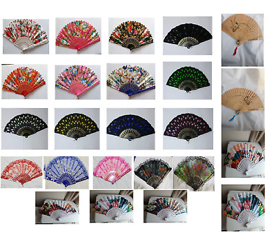 New Womens Ladies Lace Dancing Silk Folding Club Party Hand Fan