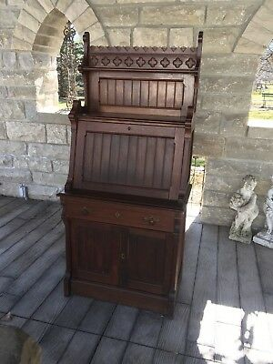 Antique Eastlake Petite Desk Secretary Original Hardware Stunning