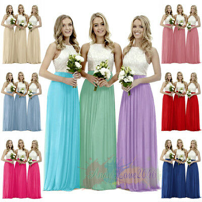 Lace Bridesmaid Dresses Formal Evening Party Ball Gown Prom Dress Plus Size 8-26