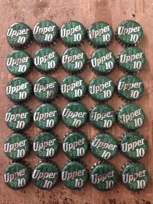 Vintage Used Lot Of 30 Upper 10 Soda Green / White Cork Lined Bottle Caps
