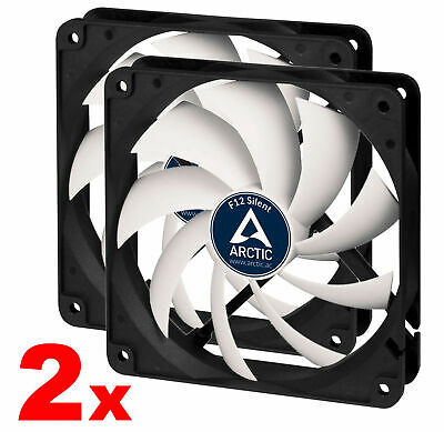 2x Arctic Cooling F12-S 120mm Silent Low Noise Quiet Case Fan Fluid Bearing