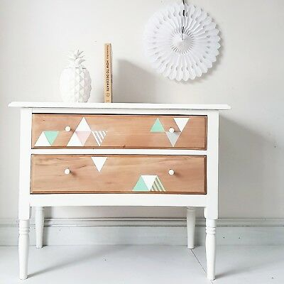 Vintage PAINTED Edwardian UPCYCLED Retro Geometric Chest of Drawers Bedroom
