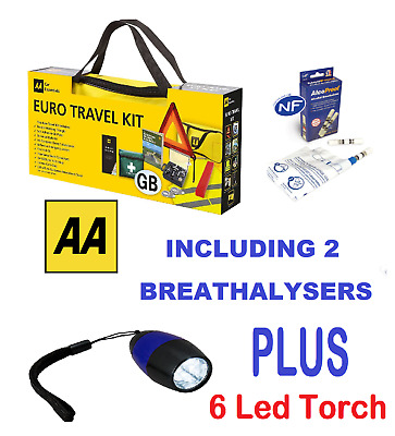 AA Car Euro Travel Kit - Including 2 Pack Breathalyser  & 9 LED Aluminium Torch