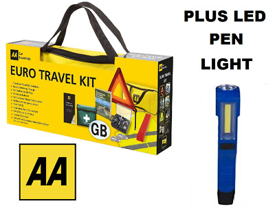 AA Car Euro Travel Kit - Required If Driving Abroad & Free COB LED Pen Light