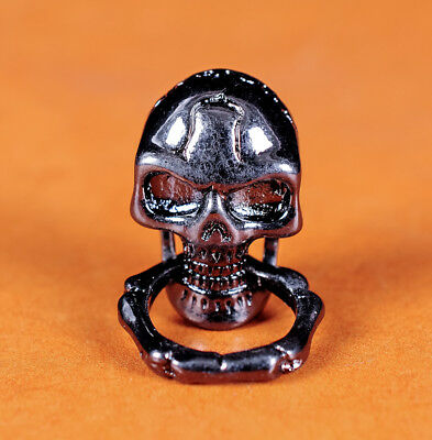 SKULL CONCHO 925 SILVER SNAP BUTTON LEATHER CRAFT BIKER WALLET PURSE BAG CLUTCH