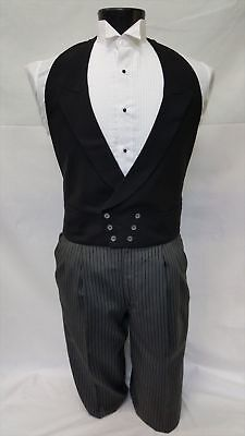Men's Black Vintage Tuxedo Vest Pearl buttons Wool Vintage Victorian Dickens