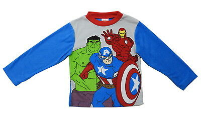 Marvel Avengers Boy's Size Small 6 Long Sleeve Fleece Pajama Top, Multi-Color