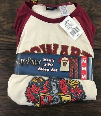 Harry Potter Men's Gryffindor Pajamas Lounge Shirt and Pants Size Medium NWT