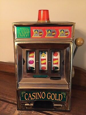 Collectible Vintage Toy Slot Machine Casino Gold Automatic Jackpot Waco Bells