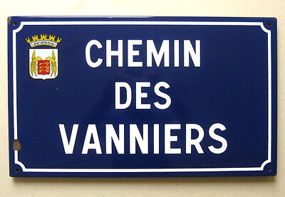 Vintage French Enamel Street Sign from Avignon in Provence, Coat of Arms