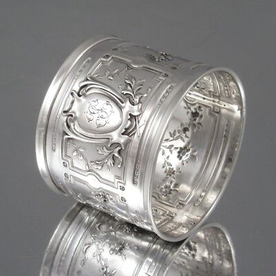 Antique French Sterling Silver Napkin Ring, Neoclassic, Roses, Flowers, Hallmark