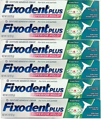 FIXODENT PLUS SUPERIOR HOLD plus SCOPE 2 oz each DENTURE ADHESIVE CREAM (6 PACK)