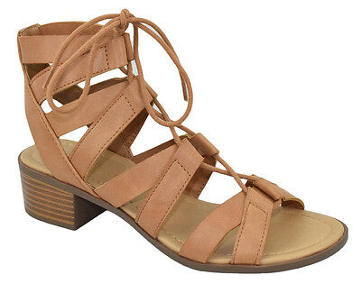 104fe37a97c CityClassified Women Gladiator Sandal High Heel Lace Up Cut Out Tan Brown  MOUSSE