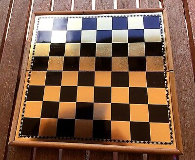 Vintage Backgammon and Chess travel game- Wooden case