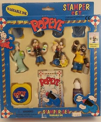 NEW 1997 Popeye Stamper Set RARE Kings Feathres Syndicate Vintage Toy Ink Stamp