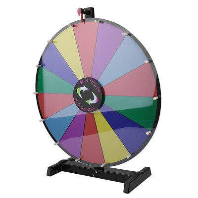 "Upgraded Editable 24"" Color Prize Wheel Fortune Tabletop Spinning Game OY"