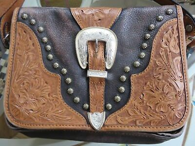 Montana Silversmiths Western Purse Hand Bag Saddle Buckle Tooled Leather Vintage