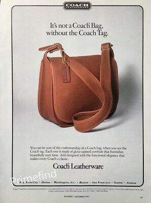 1987 COACH  Purse Not a Coach Bag without the Tag  Vintage PRINT AD