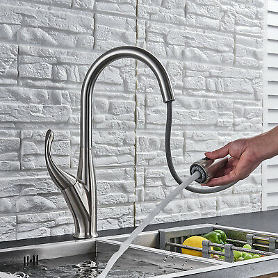 LED Pull Out Spray Kitchen Sink Faucet Swivel One Hole Mixer Tap W/Cover Plate