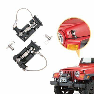 For Jeep Wrangler TJ 1997-2006 Pair Hood Locking Engine Secure Latches Catch Kit