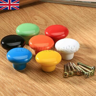 UK STOCK Ceramic Candy Color Round Knobs Drawer Cabinet Cupboard Pull Handle