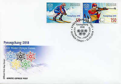Kyrgyzstan KEP 2018 FDC Winter Olympics PyeongChang 2018 2v Cover Sports Stamps