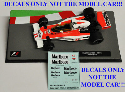 DECALS for James Hunt 1976 McLaren M23 Marlboro 1:43 Formula 1 Car Collection