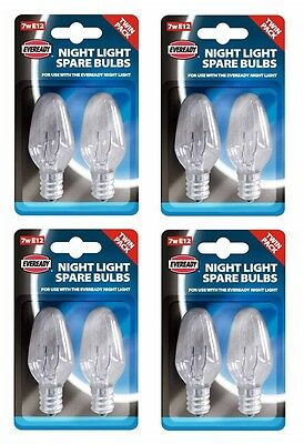 4 x Pack Of 2 Eveready Night Light Replacement Spare Bulbs 7W E12 Screw Cap