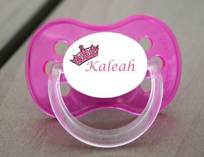 Personalised Dummy Pacifier Soother,all Teats,sizes & Colours, Pink Crown 3