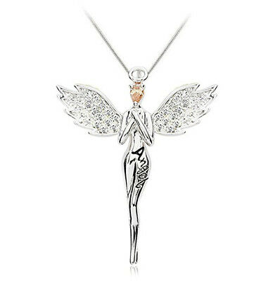 Angel Blessing Collarbone Chain Angell Shape Pendant Necklace Women 925 silver