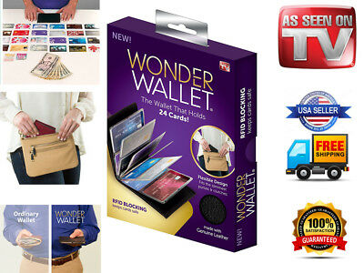 Wonder Wallet Amazing Slim Genuine Leather Wallet RFID Protection As Seen on TV