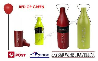 Skybar Wine Traveller Wine Bottle Cooler Green, Black Or Red Bnwt Insulated