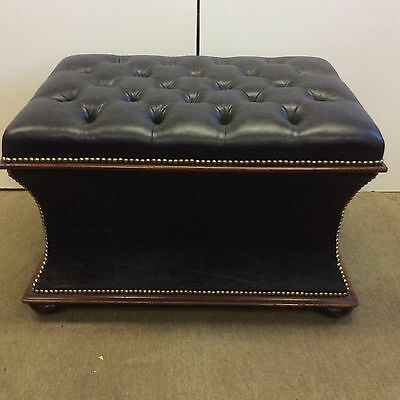 "Classical Empire Black Leather Tufted Footstool  30""x22"""