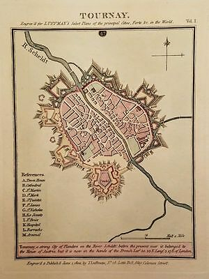 Antique Map TOURNAY Tournai Flanders Belgium Engraved Hand Colored Luffman 1800