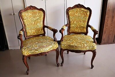 A Pair of Vintage~ HAND CARVED~ SOLID WOOD~ FRENCH  CHAIRS ~ Excellent