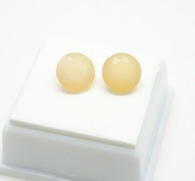 Pair of 10mm Round Chalcedony - 6.30CTW - Yellow/Orange Chalcedony Gemstones