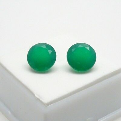 Matched Pair 10mm Round Dark Green Chalcedony 6.6CTW - Brazil - Loose Gemstones