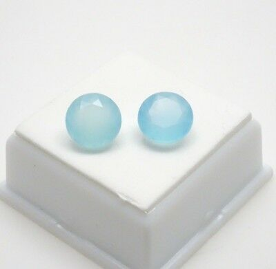 Pair of 10mm Round Light Blue Chalcedony - 7.0CTW - Chalcedony Loose Gemstones