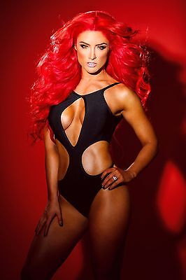 Eva Marie red background 24 x 36 Poster