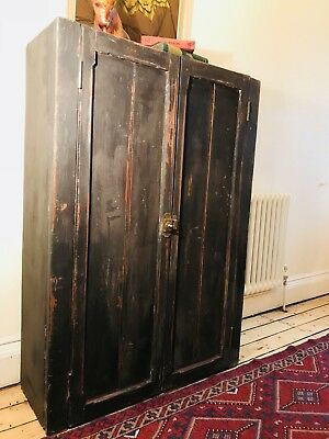 Rough luxe Vintage Painted Pine School Cupboard / Bookcase