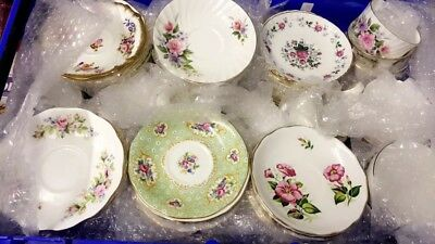Joblot of 20 mismatched vintage Fine Bone China saucers and side plates
