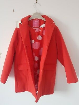 Girls Coat Jacket NEXT size 3-4 RED Clouds  BRAND NEW