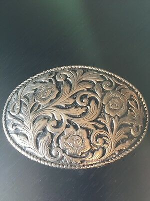 Fancy Flowers and Swirls Belt Buckle Detailed Silver Tone and Black