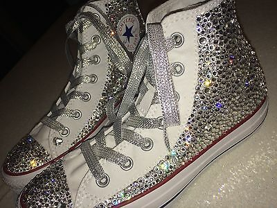 Swarovski crystal customised all star white converse adult womens ladies high hi