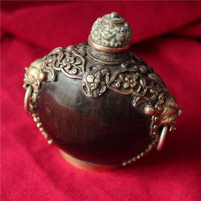 Old Ancient China Hand Carved Ox Horn Inlay Bronze Snuff Bottle Statue