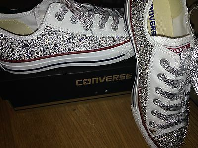 Swarovski crystal customised all star white converse adults womens ladies low