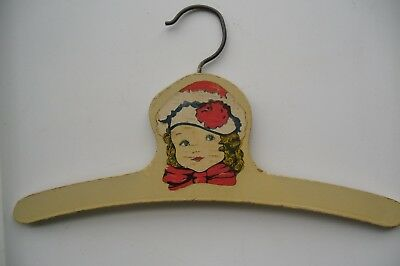 RARE VINTAGE 1930-1940s CHILD'S WOODEN HANGER, GIRL WITH HAT AND SCARF
