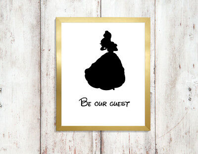 beauty beast a4 glossy poster Print picture,gift silhouette wall art unframed 1