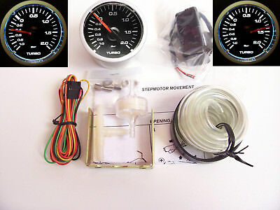RSR Ladedruck Anzeige SET 52mm klar Stepper Boost Gauge Instrument 16V VR6 Turbo