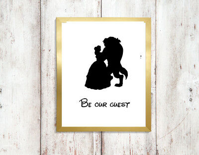 beauty beast a4 glossy poster Print picture,gift silhouette wall art unframed 3